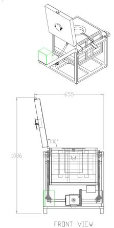 Drawing of open top door tilt furnace