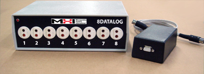 MHI-8DATALOG module shown with the RS232 converter module